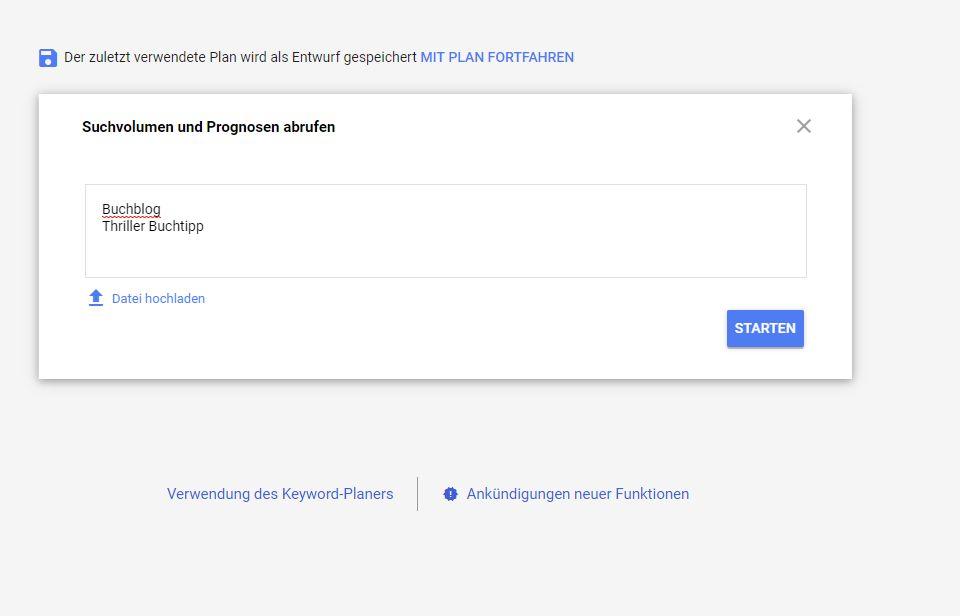 Homepage inkl. Domain erstellen: Suchvolumen abrufen