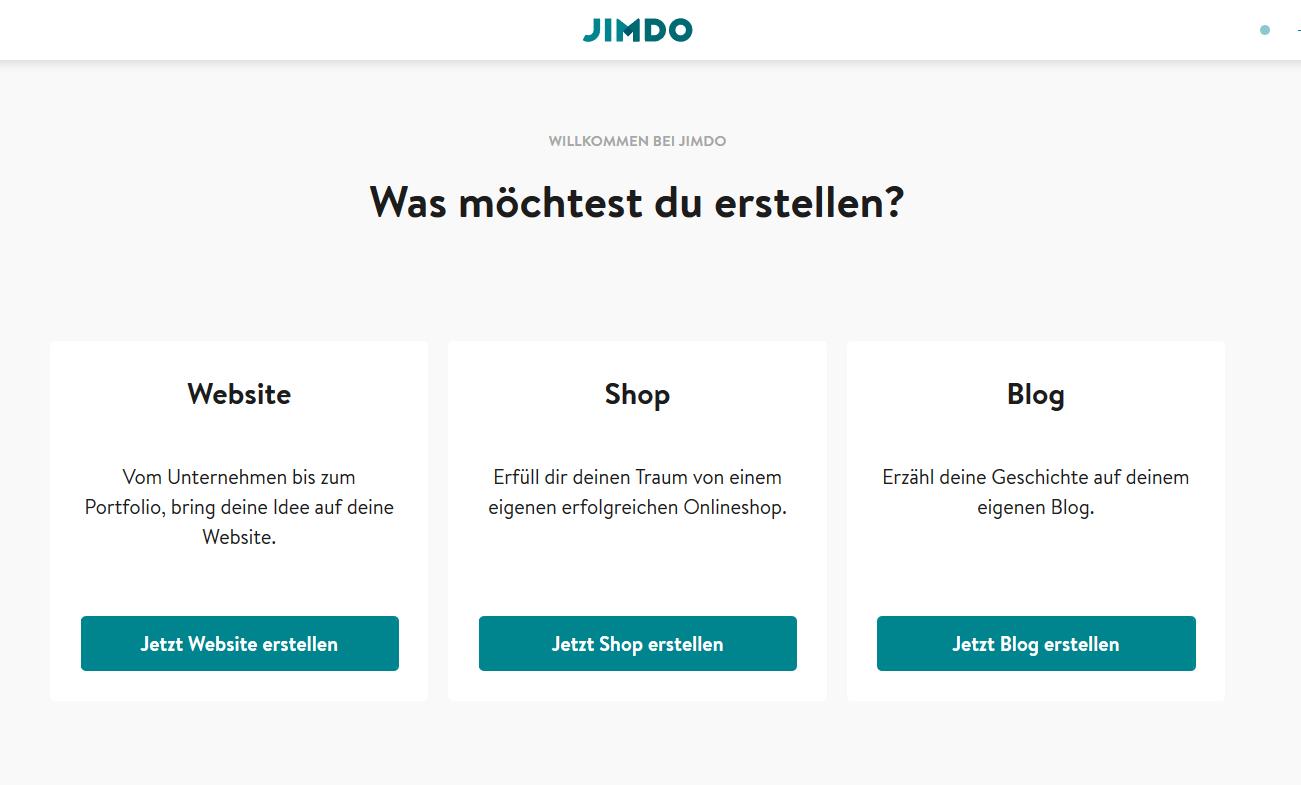 Jimdo Website Baukasten Test: Schritt 2