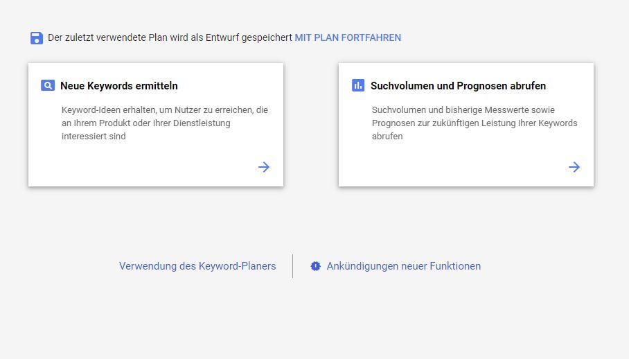 Homepage inkl. Domain erstellen Keyword Planner von Google
