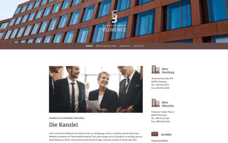 Website erstellen mit Mac (Webdesign): Jimdo Beispieltemplate 3