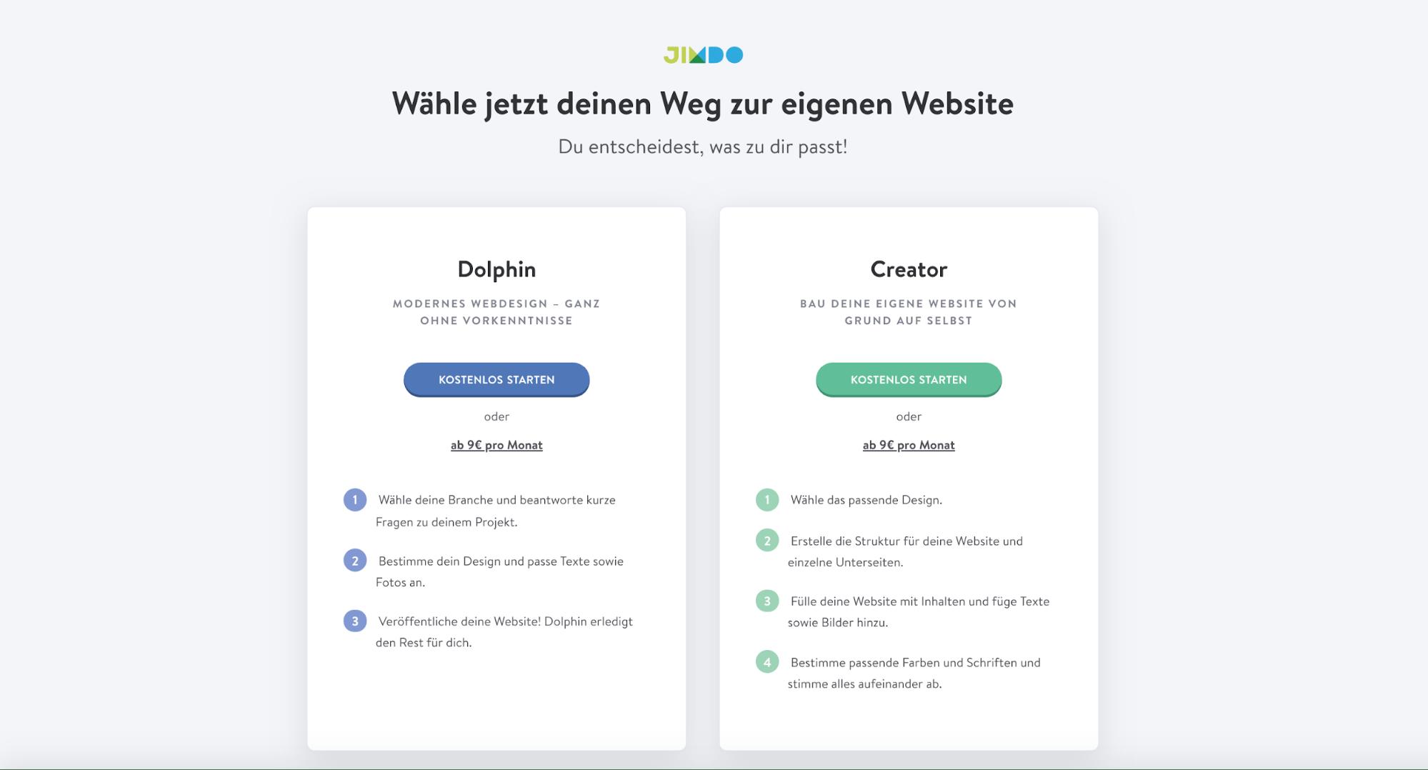 Homepage inkl. Domain erstellen mit Jimdo Schritt 1.1
