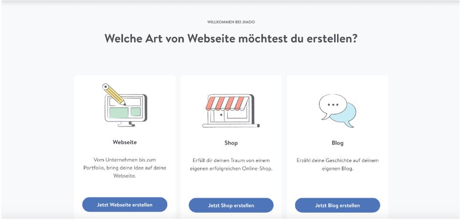 Homepage inkl. Domain erstellen mit Jimdo Schritt 2