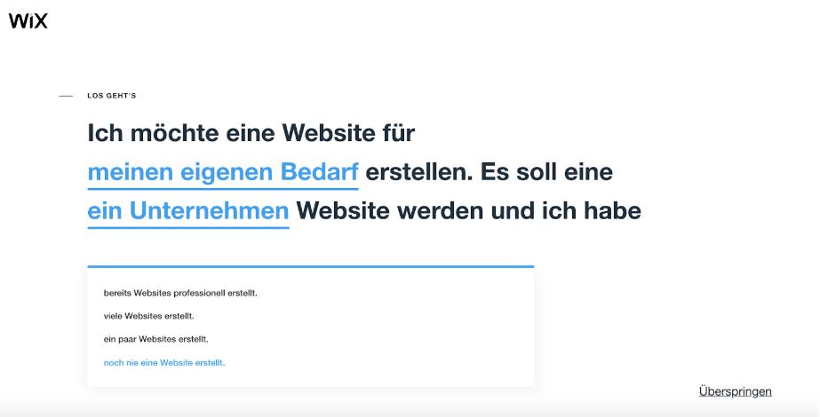 Homepage inkl. Domain erstellen mit Wix Schritt 2.1