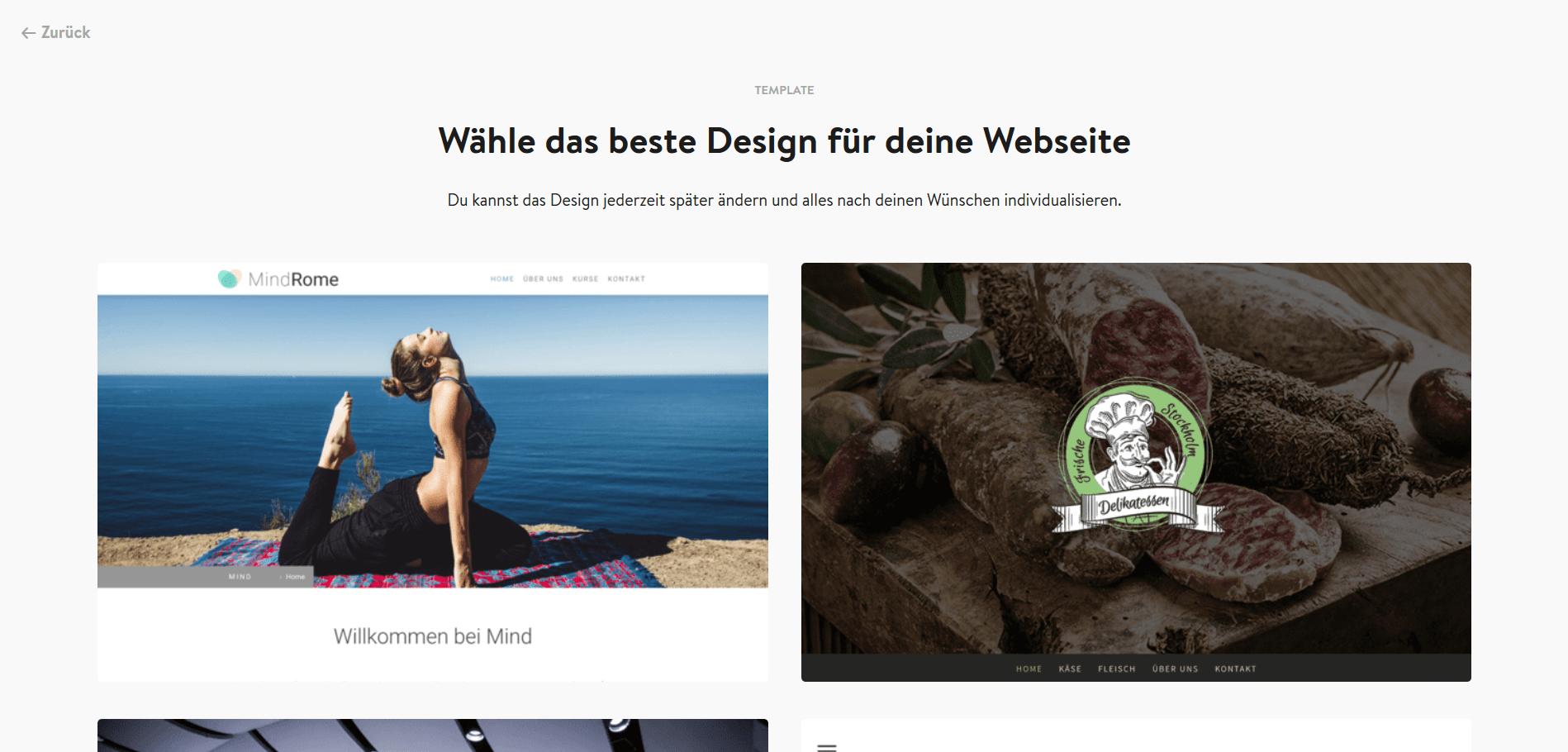 Jimdo Website Baukasten Test: Schritt 3.1