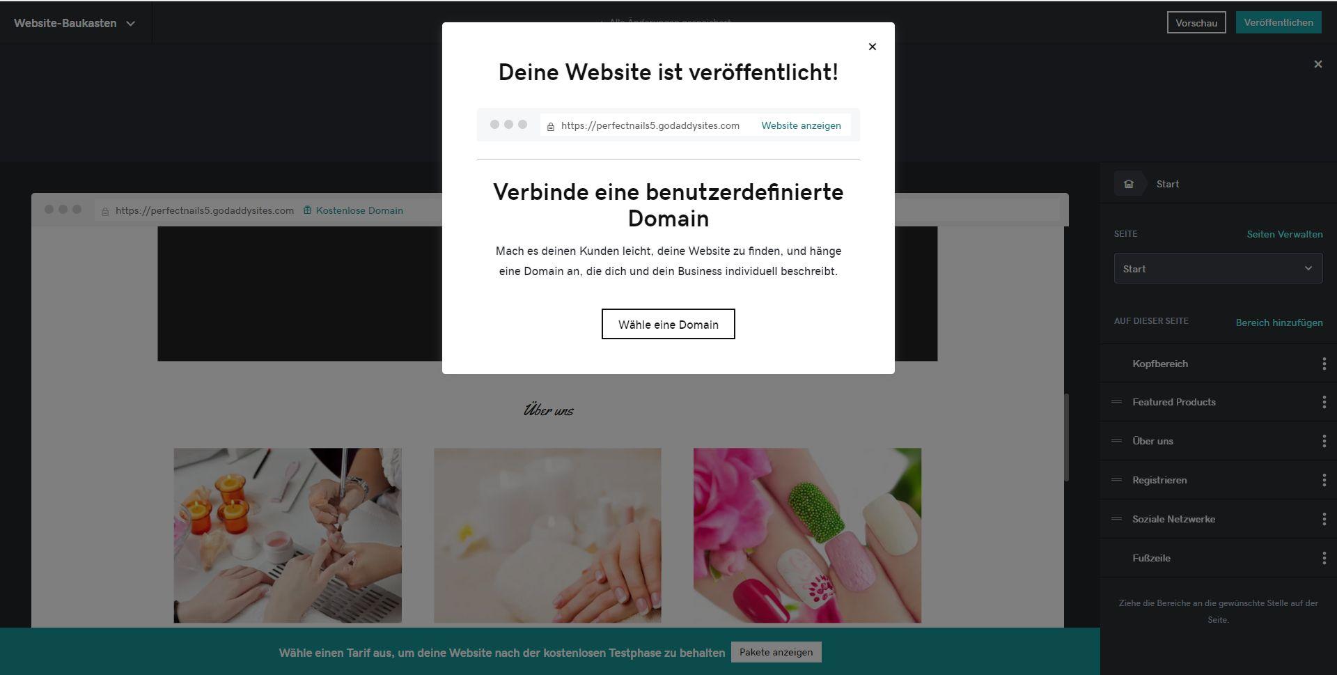 """GoDaddy"" Website Builder (Test): Website erstellen Schritt 7"