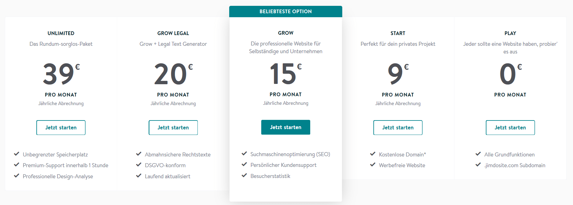 Jimdo Website Baukasten Test Preismodelle