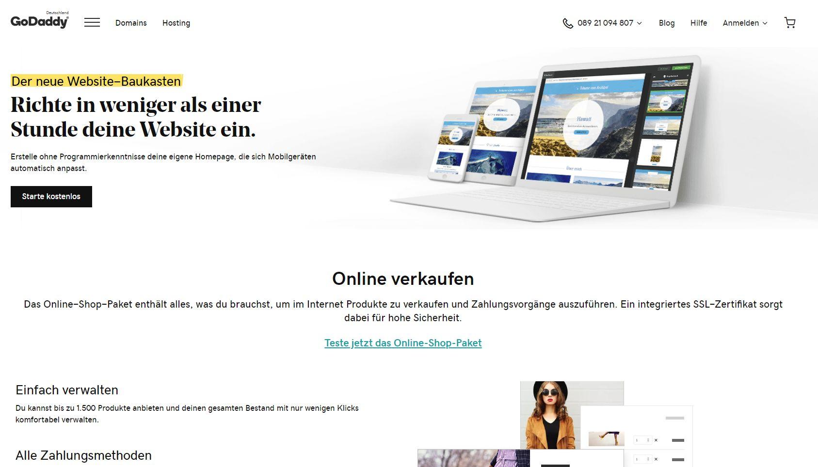 """GoDaddy"" Website Builder (Test): Website erstellen Schritt 1"