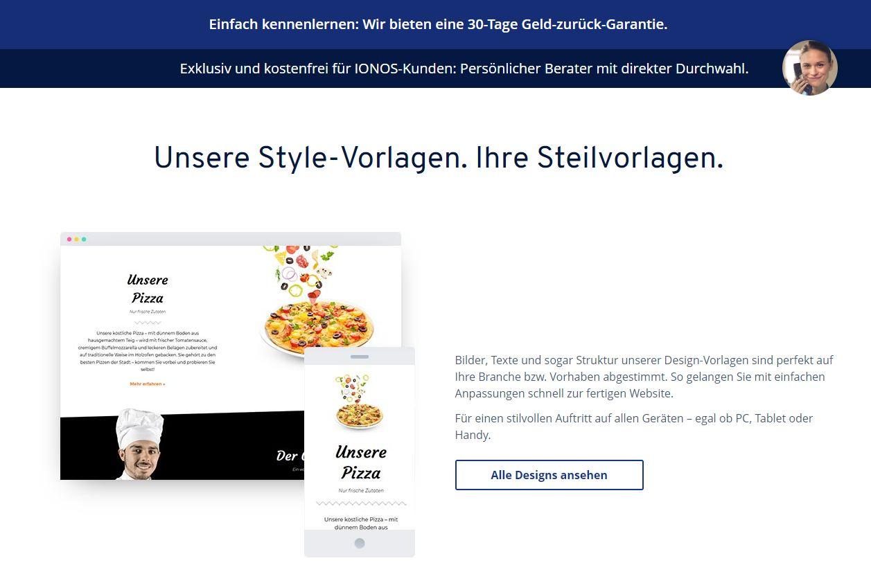 """""""1&1 MyWebsite"""" Baukasten (Test): Website erstellen mit 1&1 Schritt 1.2"""