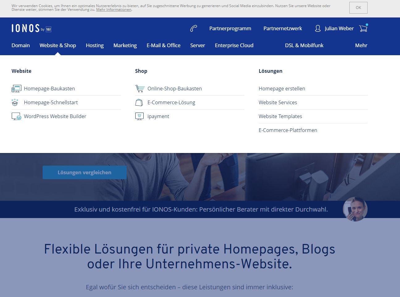 """""""1&1 MyWebsite"""" Baukasten (Test): Website erstellen mit 1&1 Schritt 1"""