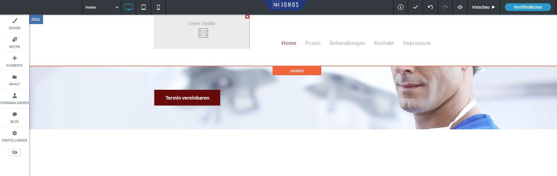 """""""1&1 MyWebsite"""" Baukasten (Test): Website erstellen mit 1&1 Schritt 8"""