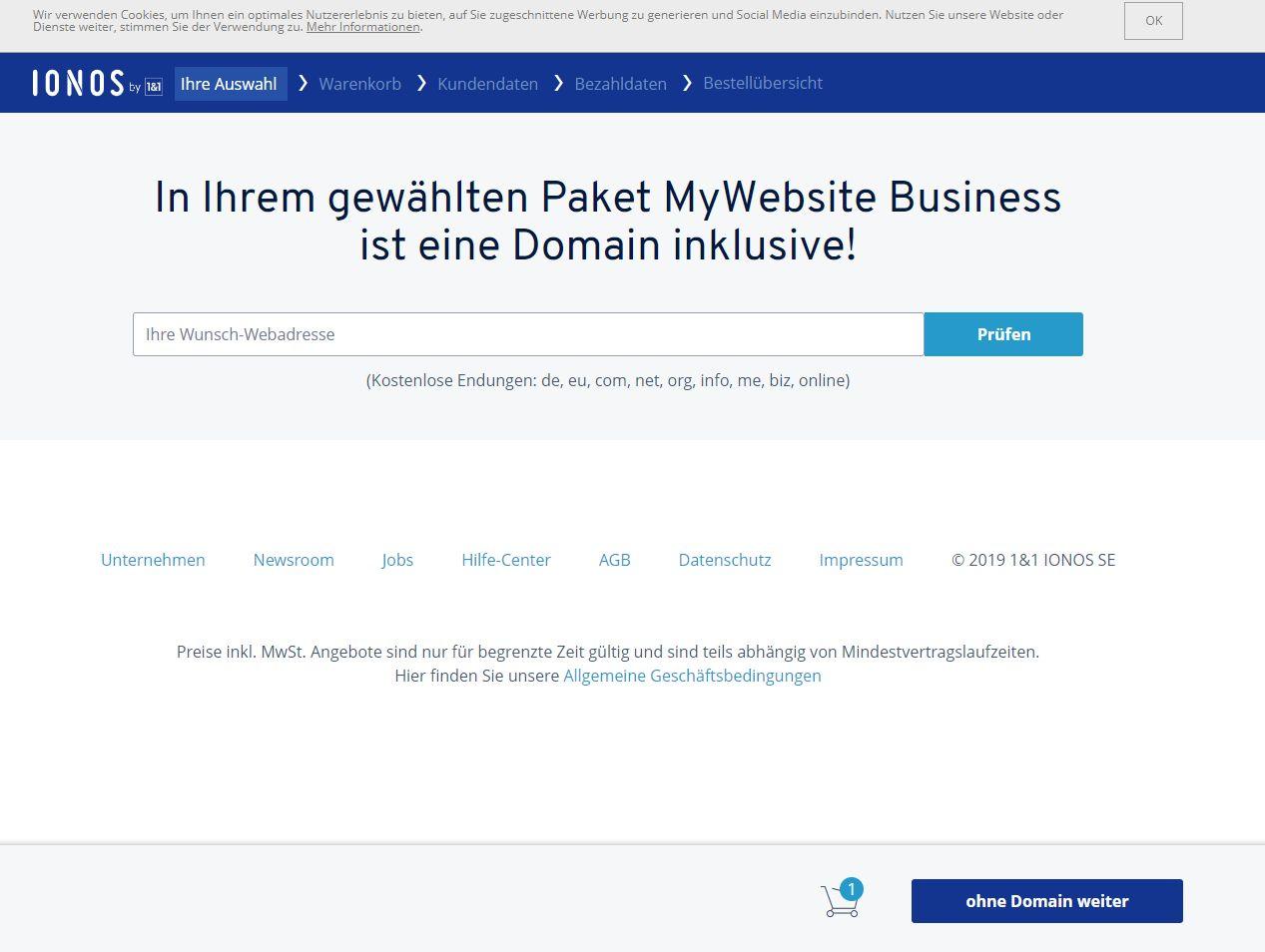 """""""1&1 MyWebsite"""" Baukasten (Test): Website erstellen mit 1&1 Schritt 4"""