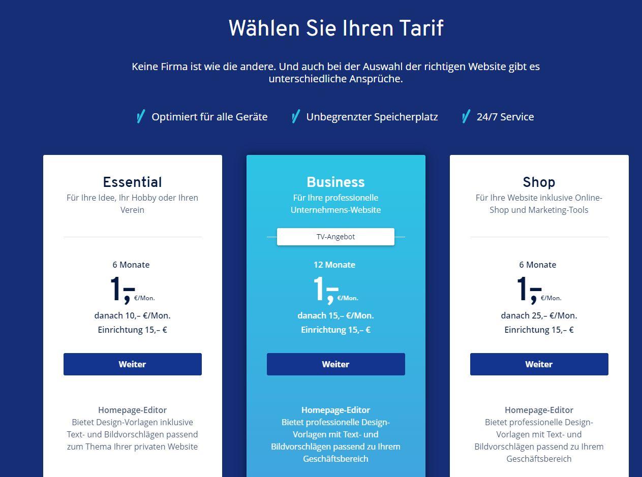 """""""1&1 MyWebsite"""" Baukasten (Test): Website erstellen mit 1&1 Schritt 3"""