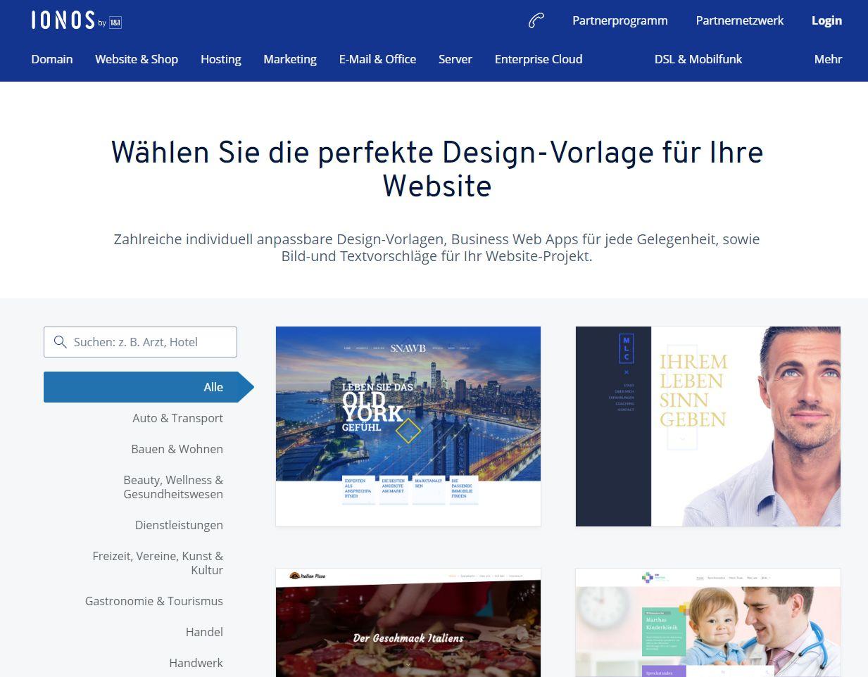 """""""1&1 MyWebsite"""" Baukasten (Test): Website erstellen mit 1&1 Schritt 2"""