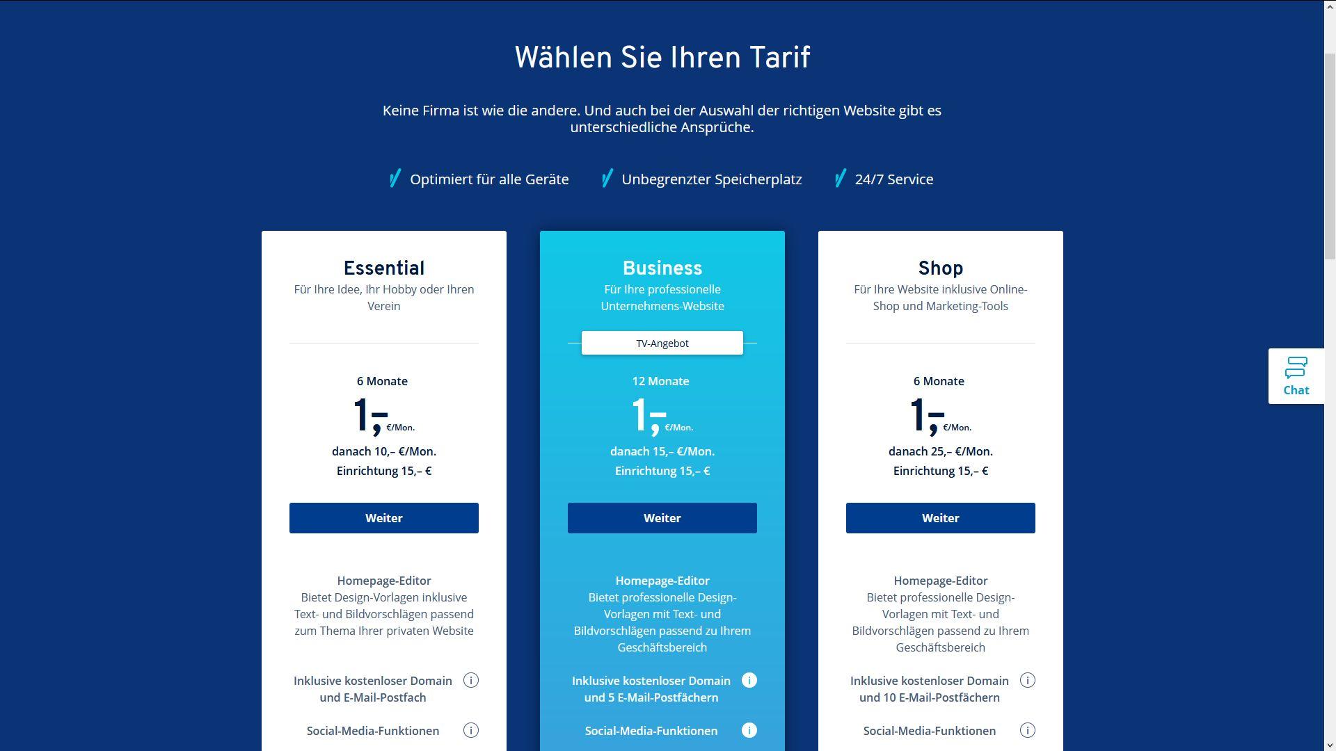 """""""1&1 MyWebsite"""" Baukasten (Test): Den richtigen Tarif finden"""